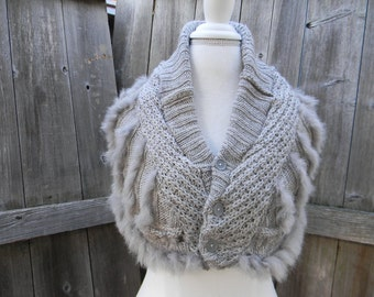 Upcycled Women Wool / Acrylic  Neck Warmer Cowl Scarflette Scarf Shawl Gray Knit With Faux Fur
