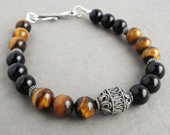 Black Onyx Tiger Eye Bali Sterling Silver Bracelet for Men, Guys, Dads, Beaded Black Brown Gemstone Mens Jewelry
