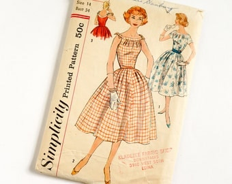 Vintage 1950s Womens Size 14 Full Skirt Dress Simplicity Sewing Pattern 2545 Complete / bust 34 waist 26 / Full Skirt, Pleated Neckline