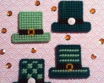 4 Handmade St Patrick's Hats Magnets Plastic Canvas