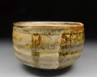Larger Handmade Matcha Chawan Teabowl Tea Ceremony Glazed with Carbon Trap Shino over Iron Slip and Twice Fired
