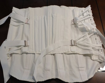 60s Camp white cotton fan laced up boned girdle/corset Size 48 Model 9187