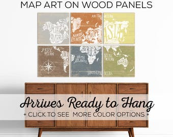 Check out our Colorful World Map Art! Available in over 25 colors - Perfect for Kids Room Wall Art