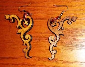 Laser-cut steampunk/tribal wood earrings. Style 3