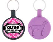 Pink Damask Personalized Dog ID Pet Tag Custom Pet Tag You Choose Tag Size & Colors