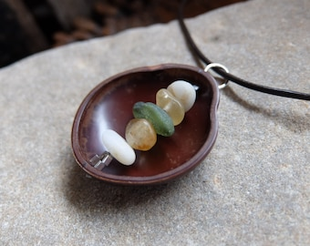 Seed pod necklace  holding beach pebbles & beach glass -  natural jewelry handmade in Australia - womb necklace