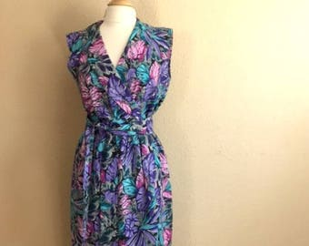 Vintage LAVENDER Floral Leaf Dress With Matching BELT / Sleeveless Purple And Pink Cap Sleeve Dress / Womens Size Large
