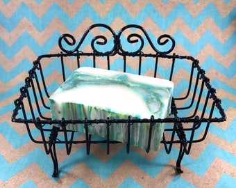 PRIVATE FOR Suzie- Vintage Wire Soap Basket, Black, Shabby Chic, New