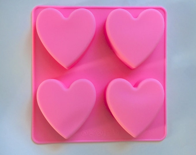 HEART Mold, Silicone, 4 Cavities