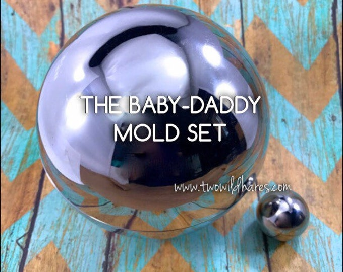 "THE BABY-DADDY Mold Set, Heavy Duty, Stainless Steel, 1"" & 4"" Bath Bomb Molds in a Set"