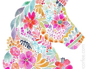 Floral SIlhouette - UNICORN - PRINT