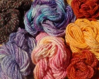 Hand Spun Wool Bright Minis Set of 7 skeins 115.5 yards total