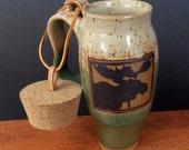 Stoneware Travel Mug With Cork ~ Moose Design ~