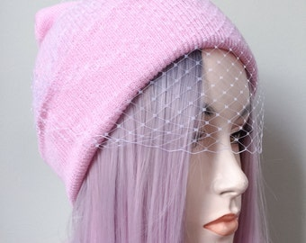 Pink and White Veil Beanie