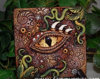 Ooak Polymer Clay Dragon's Eye Brown 3 Dimensional Wall Hanging Plaque #31 With Genuine Swavorski Crystals Fantasy Art Home Decor