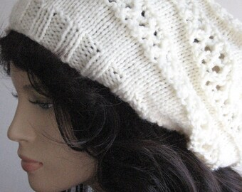 The Stacey Hat, Lace Striped Slouchy Hat, Hand Knit Hat, Womens Accessories, Winter Fashion, Vegan Hat