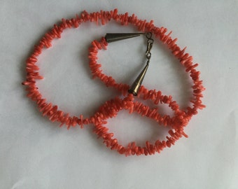 Vintage Native American Coral Sterling Silver Necklace