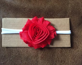 Red Rosette Flower Headband