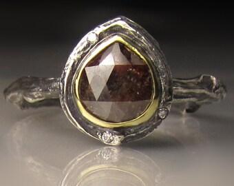 Rose Cut Diamond Twig Ring, Rose Cut Diamond Engagement Ring, Rose Cut Diamond Branch Ring