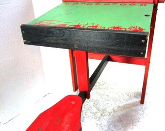 Vintage Preschool Child's Desk with Reversible Chalkboard / Whitboard, Pegboard, Roller, Straddle Seat, Wooden, Play School, Learning ABC,