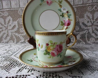 Antique 3 Piece Teacup Saucer & Dessert Plate Place Setting, ONE of SIX Available,Hand Painted, 19th C Victorian Porcelain Hot Chocolate Cup