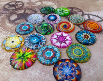 free UK postage Pack of 15 Psychedelic Pattern Mix Cabochons 25 mm