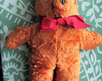Vintage Midcentury 1950's TEDDY BEAR  Brown Plush Moveable Disc Eyes