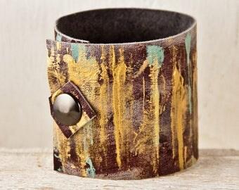 Leather Jewelry Women's Bracelet - Unique Wrist Cuffs - Boho Rainwheel Art