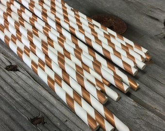 100 Metallic Copper Stripe Paper Straws - Perfect for Parties - Favors--Free Editable DIY Tags PDF