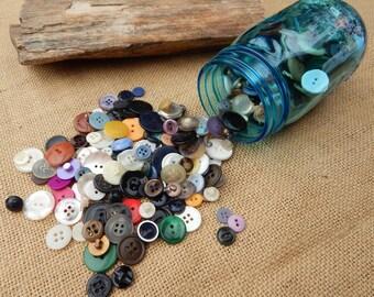 Blue Ball Jar of Vintage Buttons  ~  Grandma's Jar of Buttons  ~  Blue Ball Button Jar  ~  Vintage Plastic Buttons