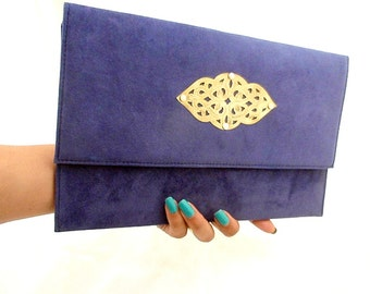 ethnic vegan clutch | Monaco blue evening bag | Enveloppe night party boho chic | Dark blue suede clutch bag | pochette de soirée |  Agadir