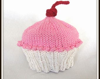 READY TO SHIP Knit Pink and White Cotton Cupcake Hat, great photo prop