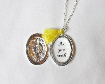 Princess Bride Locket Necklace. Quote Tassel Customized Jewelry Jewellery. Two Cheeky Monkeys Feminine Typography. Personalised Handmade