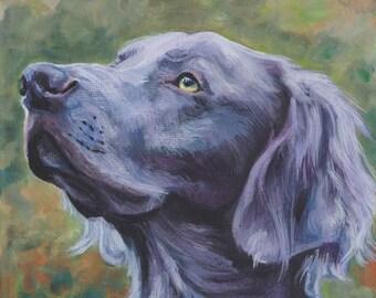 "long-haired WEIMARANER dog art portrait canvas PRINT of LAShepard painting 8x8"""