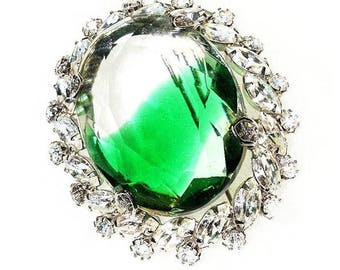 Emerald Green and Clear Framed Oval Glass Brooch