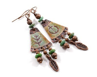 Copper and Turquoise Tribal Boho Chic Earrings, Antique Copper Earrings, Turquoise, Artisan Earrings, Boho Earrings,OOAK,Big Earrings, AE150