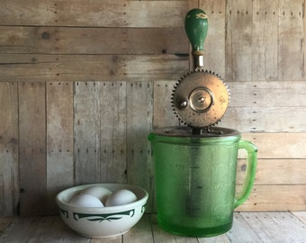 Vintage Eggbeater with One Quart Green Mixing Jar - A & J