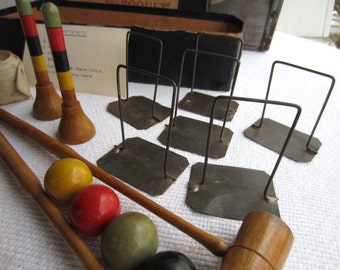 Vintage Table Croquet Wooden Table Top Game Game Room Decor