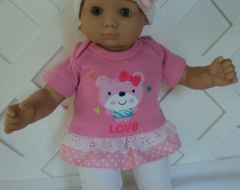 Doll Clothes,  Bitty Baby Girl   3 pc Teddy bear  Pants outfit  with hat and Leggings