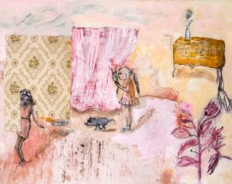 Fine Art Print, Print Giclee Art, pink ochre, abstract interior, animals cat girl modern decor, wall art, by Ana Gonzalez