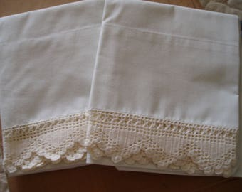 Vintage set of Pillow Cases with Crochet Border