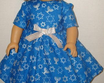 """18"""" doll clothes/Happy Hanukkah/Dress/READYTOSHIP/Made to fit 18"""" Dolls Like American Girl"""