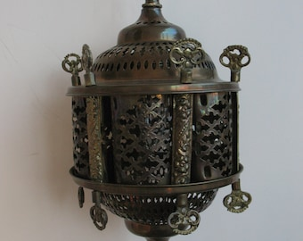 Moroccan Hanging Brass Lamp - Chandelier - Vintage - Wired and ready to hang