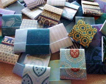100  Matchbook Note Pads- SHADES OF BLUE - Assorted  Patterns  - 12 Extra Large Sheets