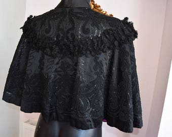 Victorian Satin Mourning Cape with Sequin and Lace Trim