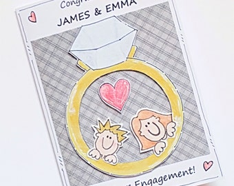 Engagement Card - Personalised Engagement Congratulations Card - Handcrafted - Diamond Ring Couple