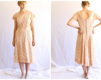 50s 60s vintage embroidered dress | lace dress | peach dress