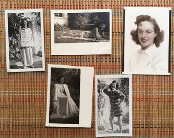 Set of 4 WW II Home Front Photographs, College Girl & USO