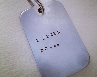 Personalised aluminium 10th anniversary or Father's Day keyring tag, customised tag plus ring. Perth, Western Australia