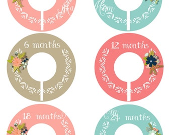 6  FULLY ASSEMBLED Closet Dividers Organizers, Baby Girl Shower Gift, Tribal,  Floral Wilderness, Baby Clothes, Woodland Nursery Decor